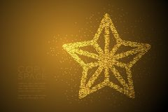 Abstract Geometric Bokeh circle dot pixel pattern Christmas star shape, Happy New Year celebration concept design gold color illus. Tration isolated on brown vector illustration