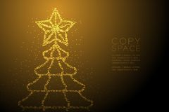 Abstract Geometric Bokeh circle dot pixel pattern Christmas tree with star shape, Happy New Year celebration concept design gold c. Olor illustration on brown vector illustration
