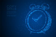 Abstract Geometric Bokeh circle dot pixel pattern 3D Alarm clock shape, digital reminder concept design blue color illustration. Isolated on blue gradient vector illustration