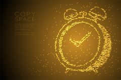 Abstract Geometric Bokeh circle dot pixel pattern 3D Alarm clock shape, digital reminder concept design gold color illustration. Isolated on brown gradient royalty free illustration