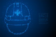 Abstract Geometric Bokeh circle dot pixel pattern Helmet construction shape, safety first concept design blue color illustration. Isolated on blue gradient Royalty Free Stock Photo