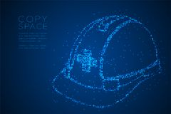 Abstract Geometric Bokeh circle dot pixel pattern Helmet construction shape, safety first concept design blue color illustration. Isolated on blue gradient Stock Photo
