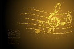 Abstract Geometric Bokeh circle dot pixel pattern Music note with line staff shape concept design gold color illustration. Isolated on brown gradient background Stock Illustration