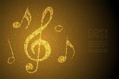 Abstract Geometric Bokeh circle dot pixel pattern Music note shape concept design gold color illustration. Isolated on brown gradient background with copy space Royalty Free Illustration