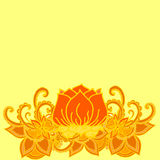 Abstract geometric border of leaves and flowers on a yellow background Stock Photo