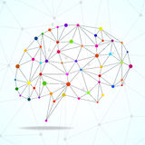 Abstract geometric brain, network connections Stock Photos