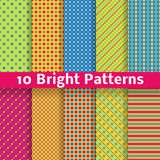 Abstract geometric bright seamless patterns. 10 Abstract geometric bright seamless patterns (tiling). Vector illustration for funny attractive design. Endless stock illustration