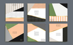 Abstract geometric card set. Stripes, tiles and dotted elements, template for card or background Stock Images