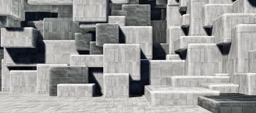 Abstract geometric cement/concrete cubes interior wall texture background High-resolution 3D CG rendering illustration stock photography