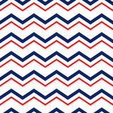 Abstract geometric chevron seamless pattern in blue red and white, vector Stock Photos
