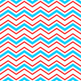 Abstract geometric chevron seamless pattern in blue red and white, vector. Background Royalty Free Stock Image