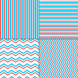 Abstract geometric chevron and stripes seamless pattern set in blue red white, vector Stock Photography