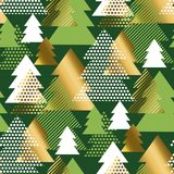 Geometric Christmas tree luxury seamless pattern. Abstract geometric Christmas tree luxury seamless pattern. Gold and green triangles geometry repeatable motif royalty free illustration