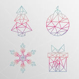 Abstract geometric christmas tree, snowflake, gift box, christma. S ball on a light background. Made of triangles stock illustration