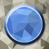Abstract geometric circle button. Polygonal circle button stock illustration