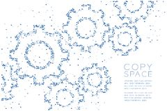 Abstract Geometric Circle dot pattern Engineering Gear shape, teamwork system concept design blue color illustration. On white background with copy space Stock Photo