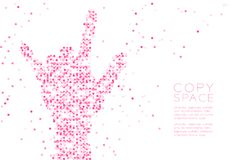 Abstract Geometric Circle dot pattern I love you Hand shape, sign language. Concept design pink color illustration isolated on white background with copy space Stock Images