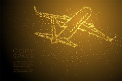 Abstract Geometric Circle dot pixel pattern Airplane shape, tran. Sportation concept design gold color illustration isolated on brown gradient background with royalty free illustration