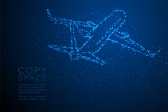 Abstract Geometric Circle dot pixel pattern Airplane shape, transportation concept design blue color illustration. Isolated on blue gradient background with Stock Photos