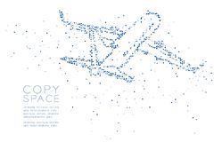 Abstract Geometric Circle dot pixel pattern Airplane shape, transportation concept design blue color illustration. On white background with copy space, vector stock illustration