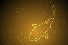 Abstract Geometric Circle dot pixel pattern Carp or Koi fish shape, aquatic and marine life concept design gold color illustration. Isolated on brown gradient Royalty Free Stock Image