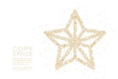 Abstract Geometric Circle dot pixel pattern Christmas star shape, Happy New Year celebration concept design gold color illustratio. N on white background with vector illustration