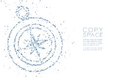 Abstract Geometric Circle dot pixel pattern Compass shape, travel concept design blue color illustration. On white background with copy space, vector eps 10 royalty free illustration
