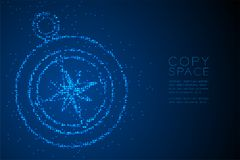 Abstract Geometric Circle dot pixel pattern Compass shape, travel concept design blue color illustration. Isolated on blue gradient background with copy space Stock Photography