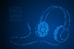 Free Abstract Geometric Circle Dot Pixel Pattern Headphone Shape, Music Instrument Concept Design Blue Color Illustration Royalty Free Stock Photo - 119297485