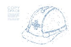 Abstract Geometric Circle dot pixel pattern Helmet construction shape, safety first concept design blue color illustration. On white background with copy space Royalty Free Stock Images
