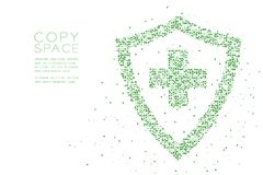 Abstract Geometric Circle dot pixel pattern Medical shield with cross sign shape, protection concept design green color illustrati. On on white background with stock illustration