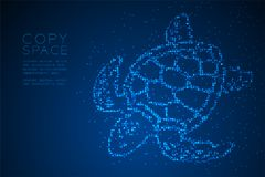 Abstract Geometric Circle dot pixel pattern Sea Turtle shape, aquatic and marine life concept design blue color illustration. Isolated on blue gradient Royalty Free Stock Image