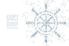Abstract Geometric Circle dot pixel pattern Ship Steering Wheel shape, aquatic and marine life concept design blue color illustrat. Ion on white background with vector illustration