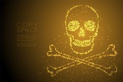 Abstract Geometric Circle dot pixel pattern Skull and crossbones shape, dangerous concept design gold color illustration. Isolated on brown gradient background Royalty Free Stock Images