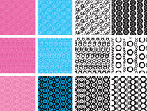 Abstract geometric circles seamless pattern. Set of 12 abstract geometric circles seamless pattern Stock Images