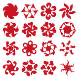 Abstract geometric circular shapes. Set of abstract geometric red circular shapes. Symmetric center shapes. Ornament design elements. Vector illustration Stock Photography