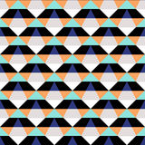 Abstract geometric color blocked pattern. With stripes, squares, random geometric shapes. Vector seamless abstract print in op art style. Black and orange bold Stock Photos