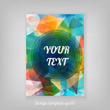 Abstract geometric colorful cover design from triangular faces w Royalty Free Stock Images