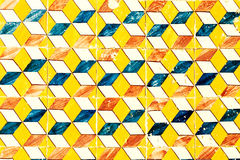 Abstract geometric colorful Moroccan, Portuguese tiles, Azulejo,. Ornaments  as wallpaper, web, background,  art textures - Lisbon, Portugal December 26, 2016 Royalty Free Stock Photo