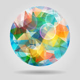 Abstract geometric colourful spherical shape with bubbles for gr Stock Photo