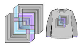Abstract geometric composition. Can be used for apparel and other merchandise stock illustration