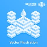 Abstract geometric composition. 3d pixel art. Abstract geometric composition. 3d pixel art illustration Royalty Free Stock Image