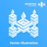 Abstract geometric composition. 3d pixel art. Abstract geometric composition. 3d pixel art illustration stock illustration