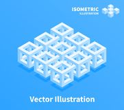 Abstract geometric composition. 3d pixel art. Abstract geometric composition. 3d pixel art illustration Royalty Free Stock Photography