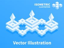 Abstract geometric composition. 3d pixel art. Abstract geometric composition. 3d pixel art illustration Stock Photo