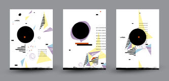 Abstract Geometric composition of Modern Cover Design. Black Label with Place for Logo. Standard paper size. Stock Image