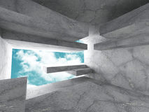 Abstract geometric concrete architecture construction on sky bac Stock Photo