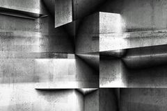 Abstract geometric concrete background 3d. Abstract geometric concrete background pattern with double exposure effect, 3d render illustration stock photography
