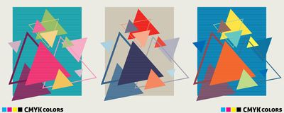 Abstract geometric covers or posters with multicolored triangles. Templates of abstract geometric covers or posters with multicolored triangles. Vector graphic stock illustration