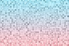 Abstract 3d Geometric Cube Background Design Pattern in Red and Blue Color Gradient. Abstract geometric cube or box shape background or patter design, in soft Stock Image